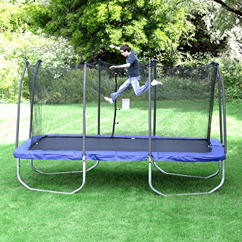 The one above, is 17′ at its largest diameter! It is one of my kid's  favorites to use! They love all of the space that the oval trampoline  offers! - The Best Trampoline With Enclosure Review Guide 2019 My Trampoline