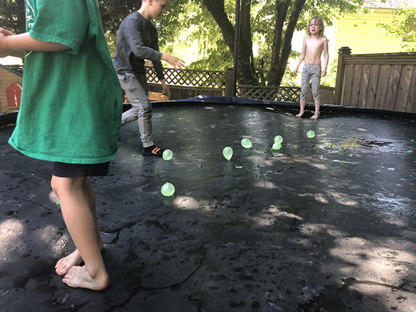 Water Balloons on a Trampoline