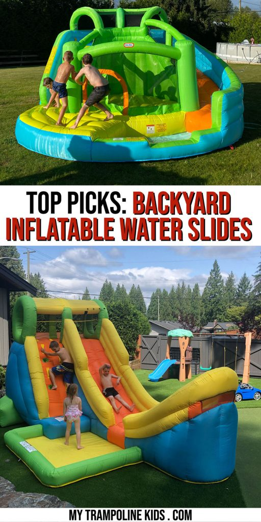 Inflatable water slide.